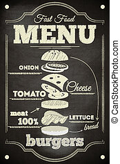 Burger Menu Poster on Chalkboard. Hamburger Ingredients....