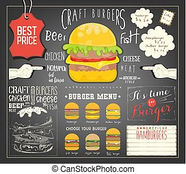 Burger Menu Template Placemat. Fast Food Concept. Vector...