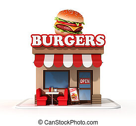 Burger mini store 3d rendering