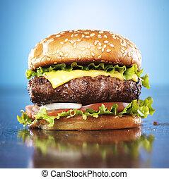 burger, noha, olvasztott sajt, és, szezám, konty