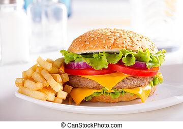 burger, noha, sültkrumpli, képben látható, a, tányér.