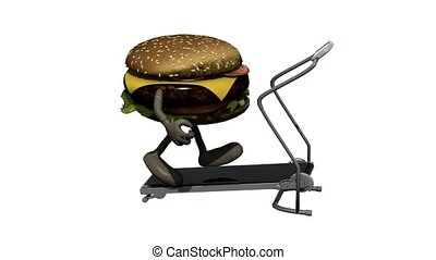 burger on running machine - burger with arms and legs on...
