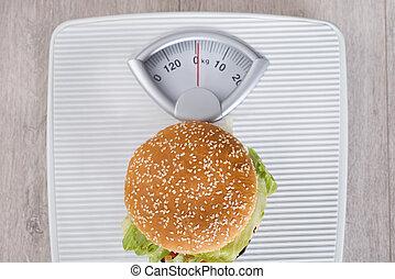 burger, på, viktscale