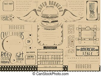 Burger Placemat on Craft Paper - Fast Food Drawn Menu...
