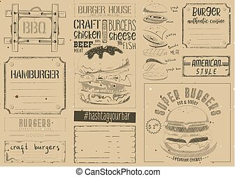 Burger Placemat on Craft Paper - Fast Food Place Mat. Burger...