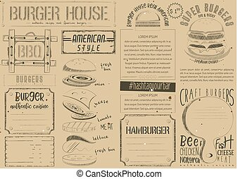 Burger Placemat on Craft Paper - Fast Food Vintage Menu...