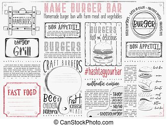 Burger Placemat on Craft Paper - Hamburgers Placemat - Paper...