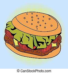 Burger Pop art vector illustration