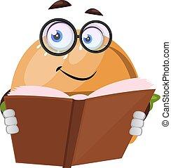 Burger reading book, illustration, vector on white background.