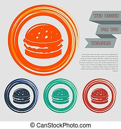 Burger, sandwich, hamburger icon on the red, blue, green, orange buttons for your website and design with space text. Vector