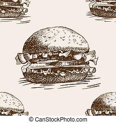 Burger sandwich sketch seamless pattern vector