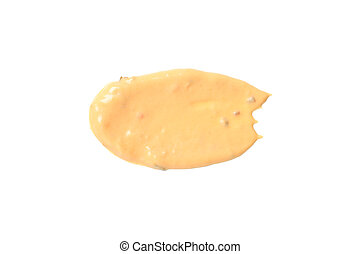 Burger sauce spot isolated on white background, top view