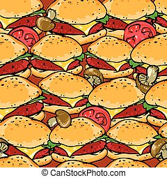 Burger seamless pattern