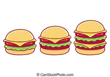 Burger drawing set. Simple, double and triple cheeseburger. Isolated vector illustration.
