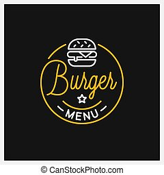 Burger shop logo. Round linear logo of menu