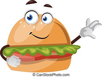 Burger showing with hand, illustration, vector on white background.