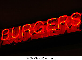 Burger sign. - Fast food hamburger sign for customers on the...
