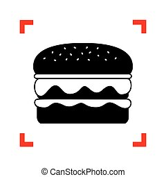 Burger simple sign. Black icon in focus corners on white...