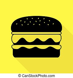 Burger simple sign. Black icon with flat style shadow path on yellow background.