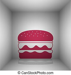 Burger simple sign. Bordo icon with shadow in the room.