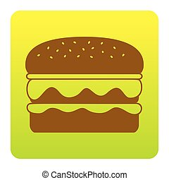 Burger simple sign. Vector. Brown icon at green-yellow gradient square with rounded corners on white background. Isolated.
