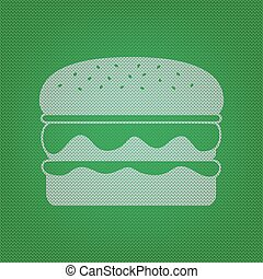 Burger simple sign. white icon on the green knitwear or woolen cloth texture.