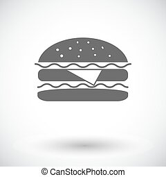 Burger. Single flat icon on white background. Vector...