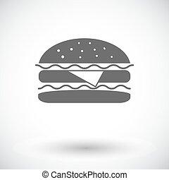 Burger. Single flat icon on white background. Vector illustration.