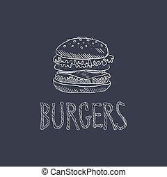 Burger Sketch Style Chalk On Blackboard Menu Item Vector Illustration Hand Drawn On Dark Background