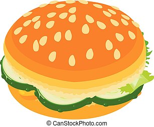 Burger small icon, isometric style