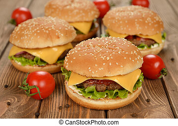 Burger on a brown background