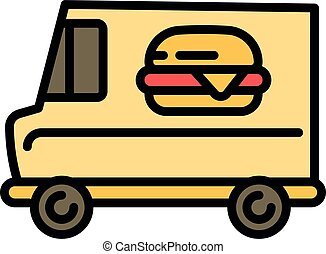 Burger street food truck icon, outline style