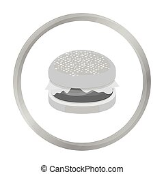 Burger vector icon in monochrome style for web