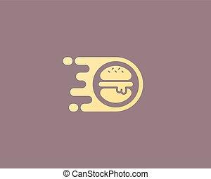 Burger vector logo design. Fast food delivery logotype.
