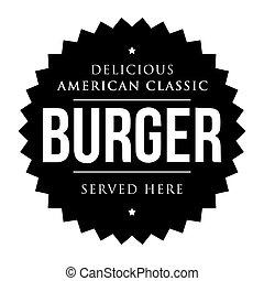 Burger vintage black stamp