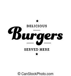 Burger vintage sign stamp