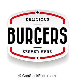 Burger vintage stamp sticker vector