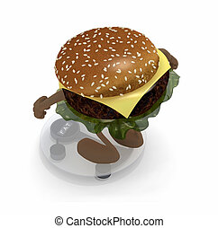 burger with arms and legs over balance
