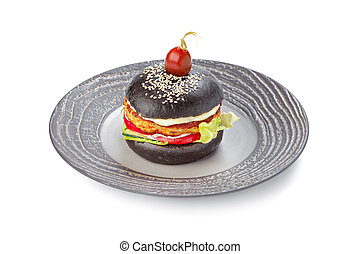 Burger with black bread isolated on white