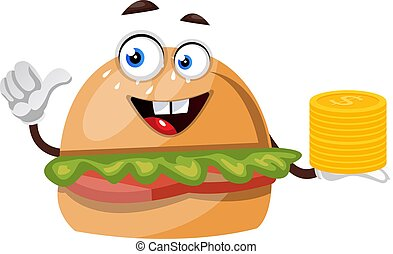 Burger with coins, illustration, vector on white background.
