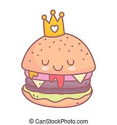 burger with crown character menu restaurant cartoon food cute