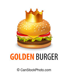 Burger with Crown isolated on white background