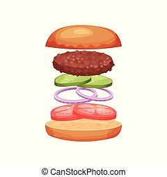 Burger with flying ingredients tomatoes, onion rings, cucumbers and grilled cutlet. Delicious snack. Flat vector design for menu