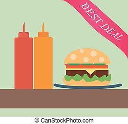 Burger with ketchup and mustard