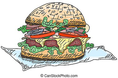 burger with meat and sausage sketch drawing doodle