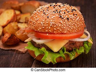 Burger with potato