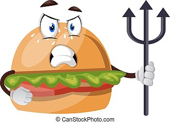 Burger with spear, illustration, vector on white background.