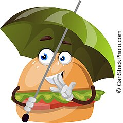 Burger with umbrella, illustration, vector on white background.