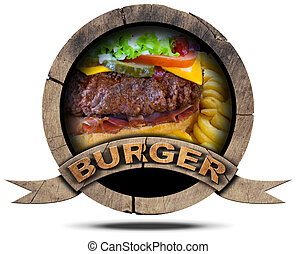 Burger- Wooden Symbol - Wooden round burger symbol or icon...