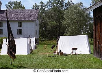 burgeroorlog, reenactment, kamp